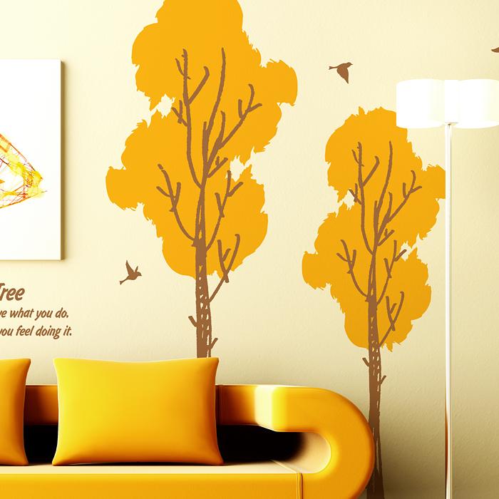 벽면스티커 베란다홈바 시트지스티커 좁은방꾸미기 S355 윈드트리 (나무 2그루) (반제품L)
