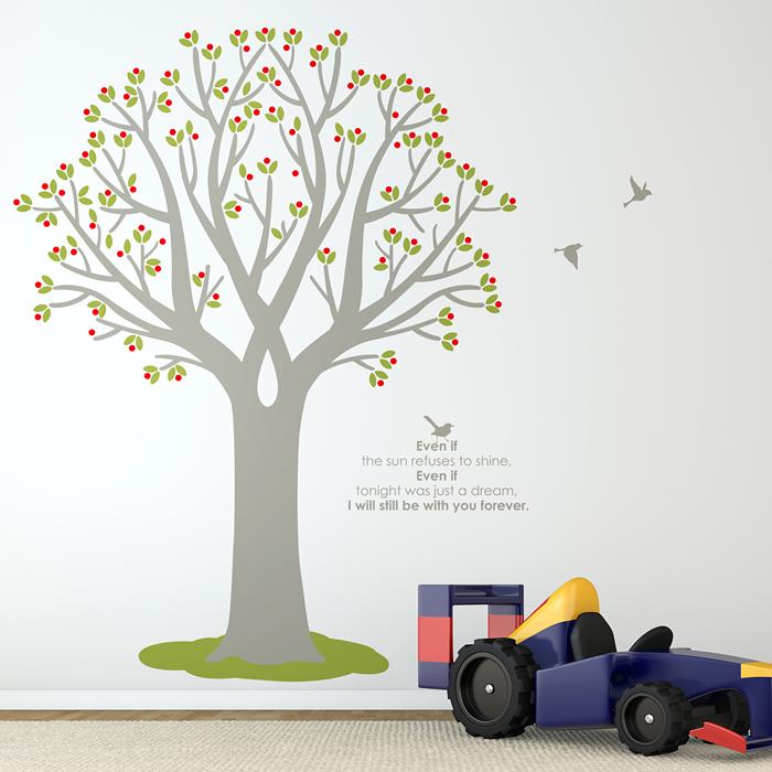 포인트스티커벽지 셀프리모델링 인테리어스티커 자매방인테리어 S449 열매나무(나무1그루) (완제품B)