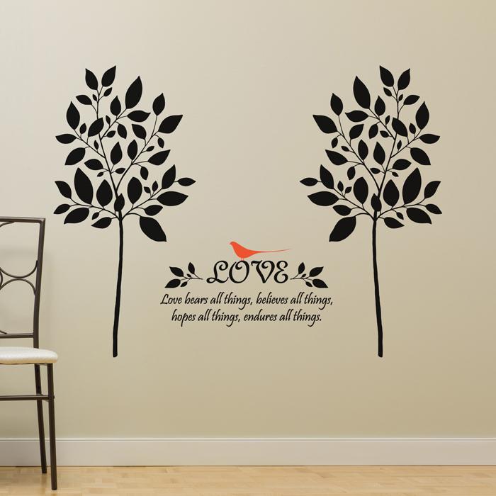 벽지꾸미기 반셀프인테리어 방문스티커 17평인테리어 S452 잎나무(나무2그루) (완제품B)